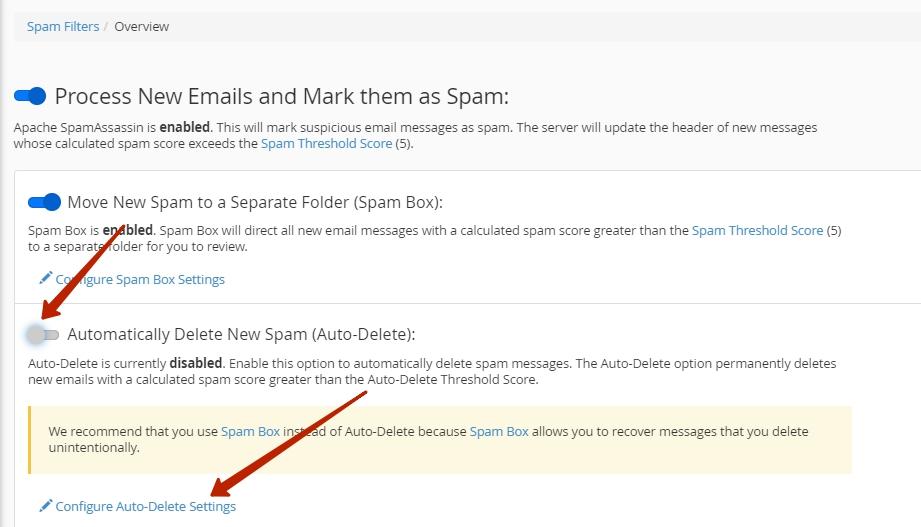 Как настроить автоматическое удаление в SpamAssassin
